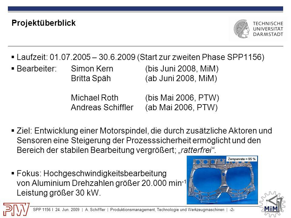 SPP 1156 I 24. Jun. 2009 | A. Schiffler | Produktionsmanagement, Technologie und Werkzeugmaschinen | ‹2› Projektüberblick  Laufzeit: 01.07.2005 – 30.