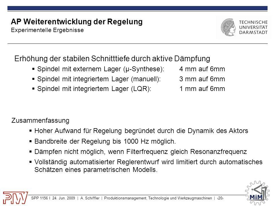 SPP 1156 I 24. Jun. 2009 | A. Schiffler | Produktionsmanagement, Technologie und Werkzeugmaschinen | ‹20› AP Weiterentwicklung der Regelung Experiment