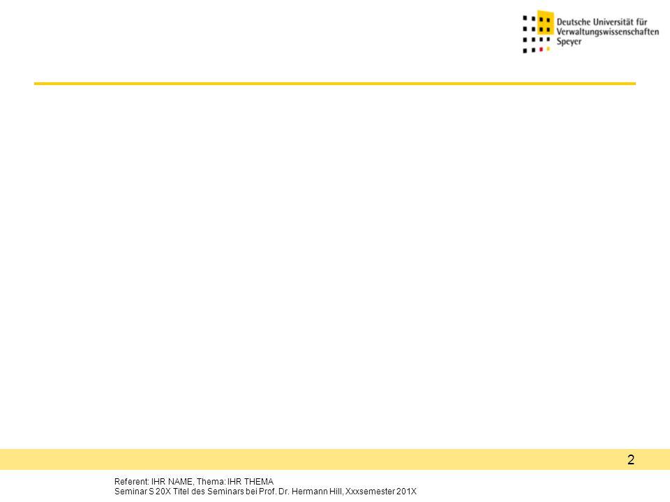 Referent: IHR NAME, Thema: IHR THEMA Seminar S 20X Titel des Seminars bei Prof.