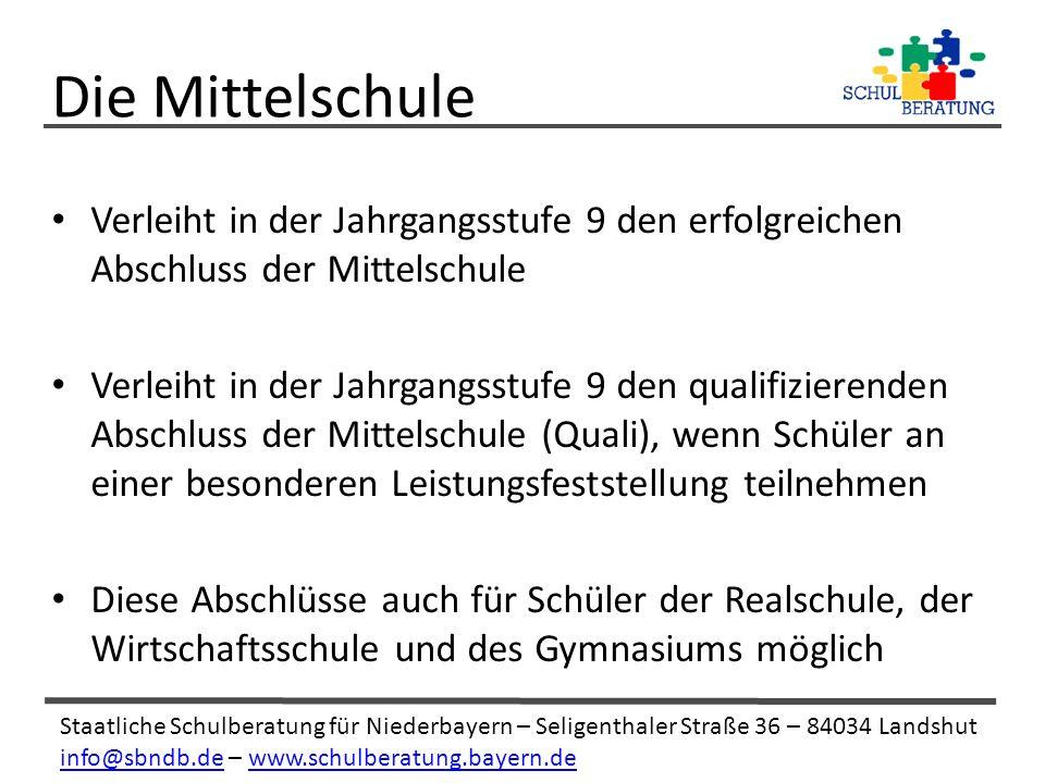 Staatliche Schulberatung für Niederbayern – Seligenthaler Straße 36 – 84034 Landshut info@sbndb.deinfo@sbndb.de – www.schulberatung.bayern.dewww.schulberatung.bayern.de Verleiht in der Jahrgangsstufe 9 den erfolgreichen Abschluss der Mittelschule Verleiht in der Jahrgangsstufe 9 den qualifizierenden Abschluss der Mittelschule (Quali), wenn Schüler an einer besonderen Leistungsfeststellung teilnehmen Diese Abschlüsse auch für Schüler der Realschule, der Wirtschaftsschule und des Gymnasiums möglich Die Mittelschule