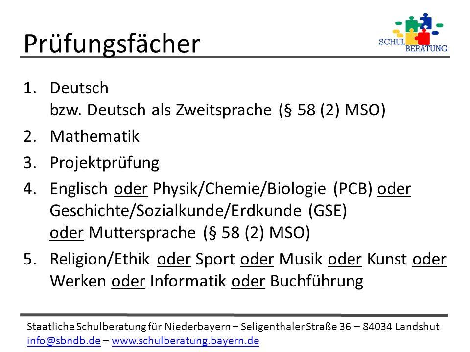 Staatliche Schulberatung für Niederbayern – Seligenthaler Straße 36 – 84034 Landshut info@sbndb.deinfo@sbndb.de – www.schulberatung.bayern.dewww.schulberatung.bayern.de 1.Deutsch bzw.