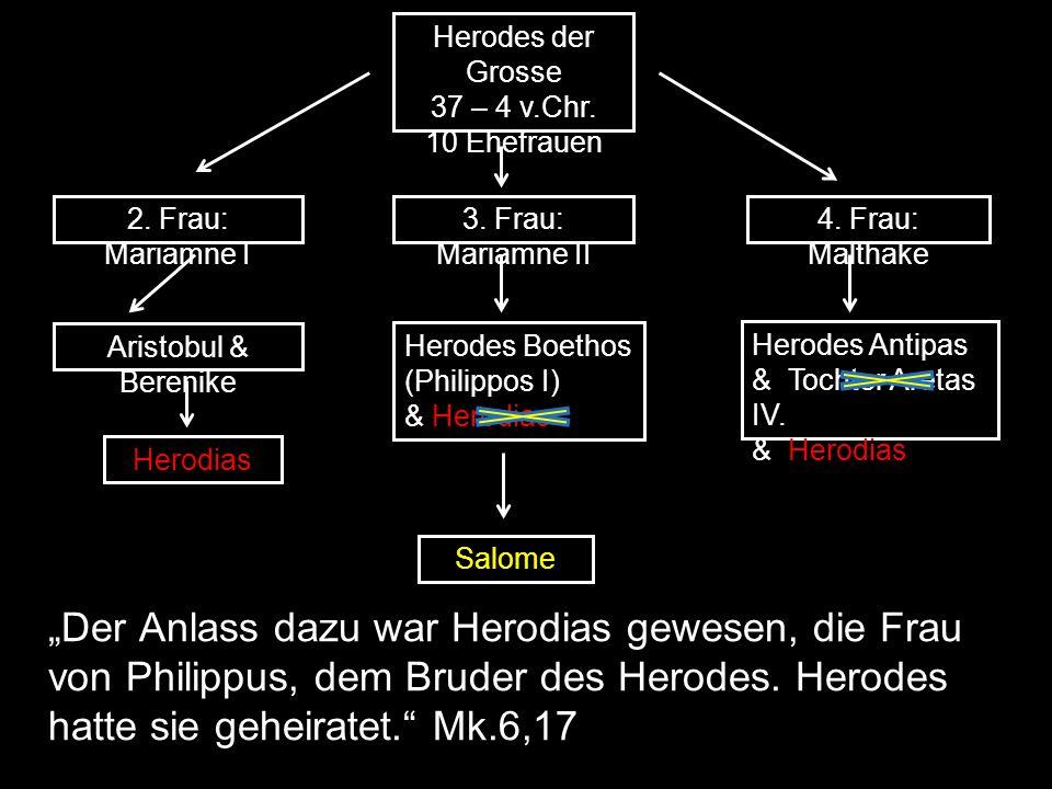 Herodes der Grosse 37 – 4 v.Chr. 10 Ehefrauen 2. Frau: Mariamne I Aristobul & Berenike Herodias 3. Frau: Mariamne II Herodes Boethos (Philippos I) & H