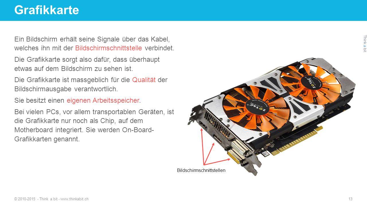 Grafikkarte © 2010-2015 - Think a bit - www.thinkabit.ch 13 Ein Bildschirm erhält seine Signale über das Kabel, welches ihn mit der Bildschirmschnitts
