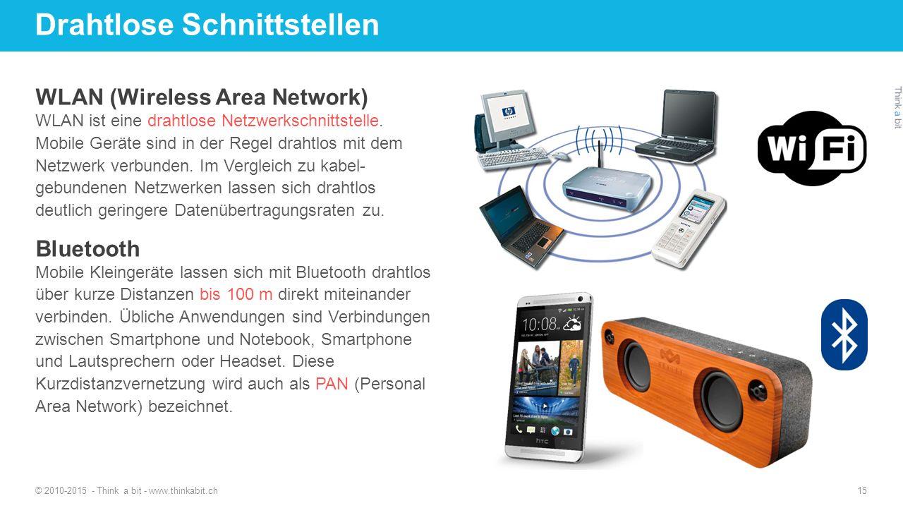 Drahtlose Schnittstellen © 2010-2015 - Think a bit - www.thinkabit.ch 15 WLAN (Wireless Area Network) WLAN ist eine drahtlose Netzwerkschnittstelle. M