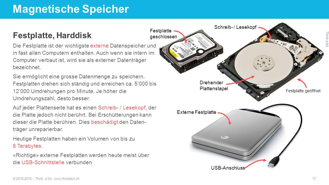 Magnetische Speicher © 2010-2015 - Think a bit - www.thinkabit.ch 17 Festplatte, Harddisk Die Festplatte ist der wichtigste externe Datenspeicher und