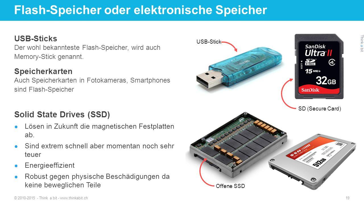 Flash-Speicher oder elektronische Speicher © 2010-2015 - Think a bit - www.thinkabit.ch 19 USB-Sticks Der wohl bekannteste Flash-Speicher, wird auch M