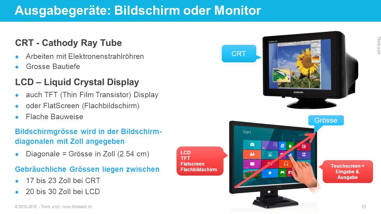 Ausgabegeräte: Bildschirm oder Monitor © 2010-2015 - Think a bit - www.thinkabit.ch 23 CRT - Cathody Ray Tube ● Arbeiten mit Elektronenstrahlröhren ●
