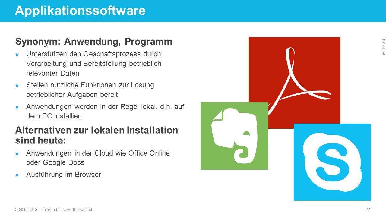 Applikationssoftware Synonym: Anwendung, Programm ● Unterstützen den Geschäftsprozess durch Verarbeitung und Bereitstellung betrieblich relevanter Dat