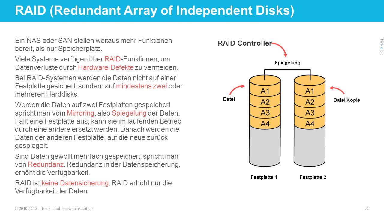 RAID (Redundant Array of Independent Disks) Ein NAS oder SAN stellen weitaus mehr Funktionen bereit, als nur Speicherplatz. Viele Systeme verfügen übe