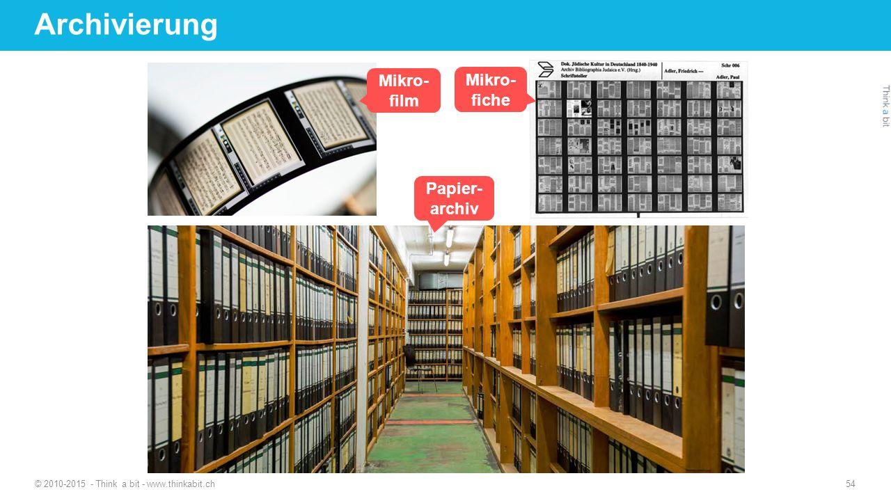 Mikro- film Mikro- fiche Papier- archiv © 2010-2015 - Think a bit - www.thinkabit.ch 54