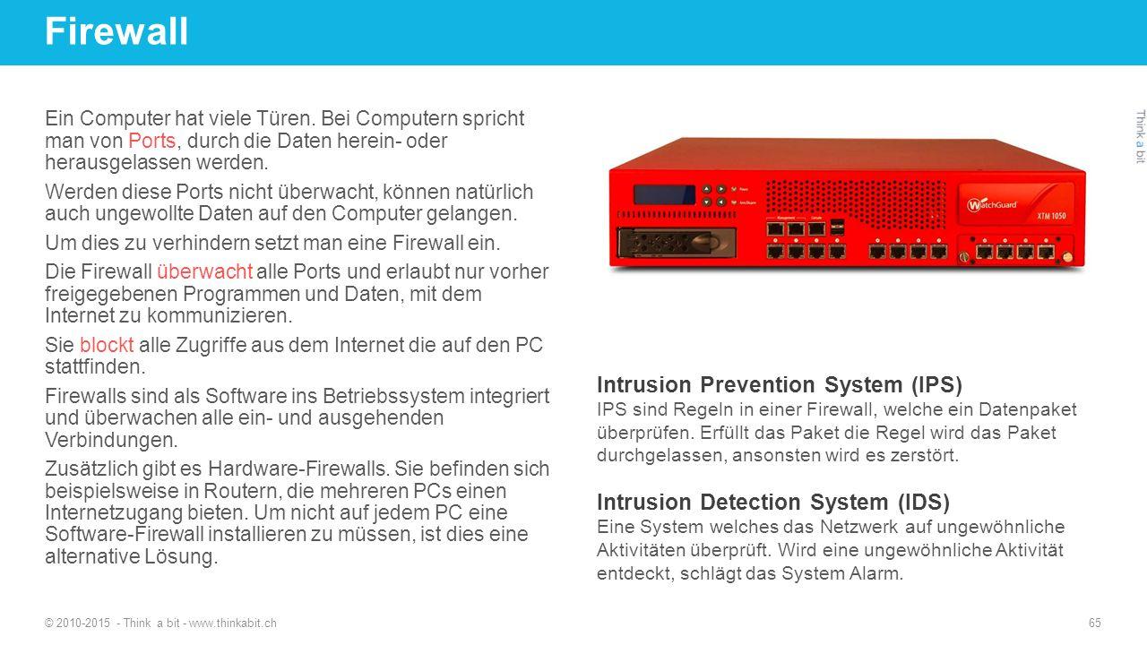 Firewall © 2010-2015 - Think a bit - www.thinkabit.ch 65 Ein Computer hat viele Türen. Bei Computern spricht man von Ports, durch die Daten herein- od