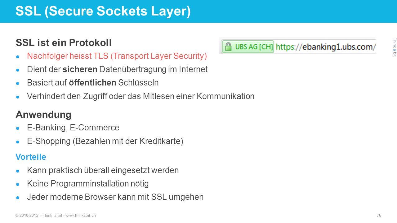 SSL ist ein Protokoll ● Nachfolger heisst TLS (Transport Layer Security) ● Dient der sicheren Datenübertragung im Internet ● Basiert auf öffentlichen