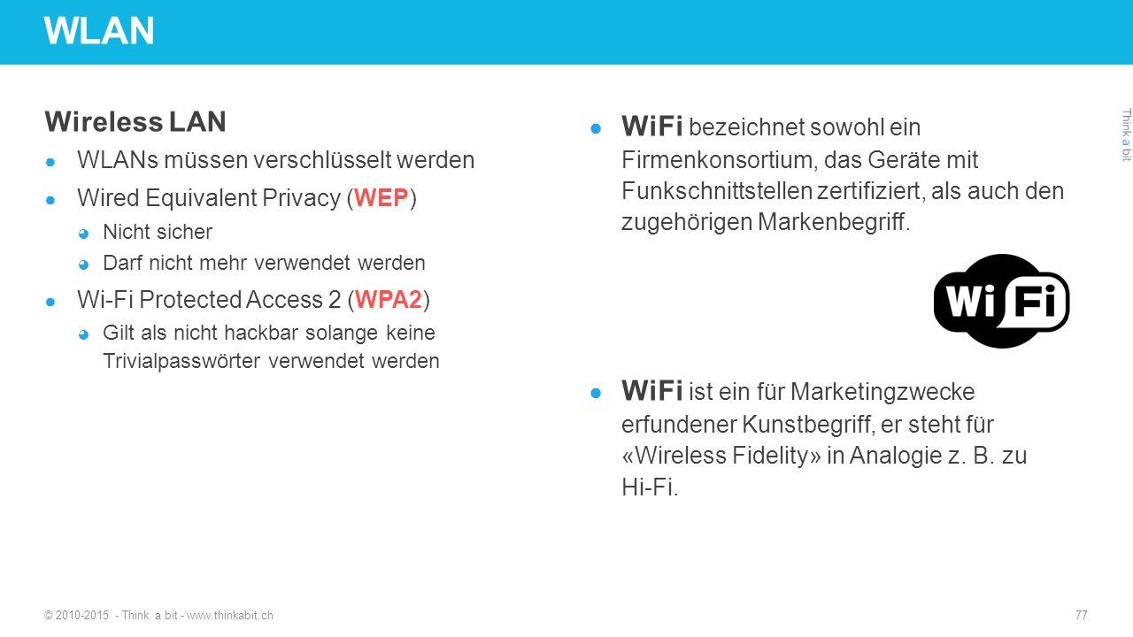 WLAN Wireless LAN ● WLANs müssen verschlüsselt werden ● Wired Equivalent Privacy (WEP) ◕ Nicht sicher ◕ Darf nicht mehr verwendet werden ● Wi-Fi Prote