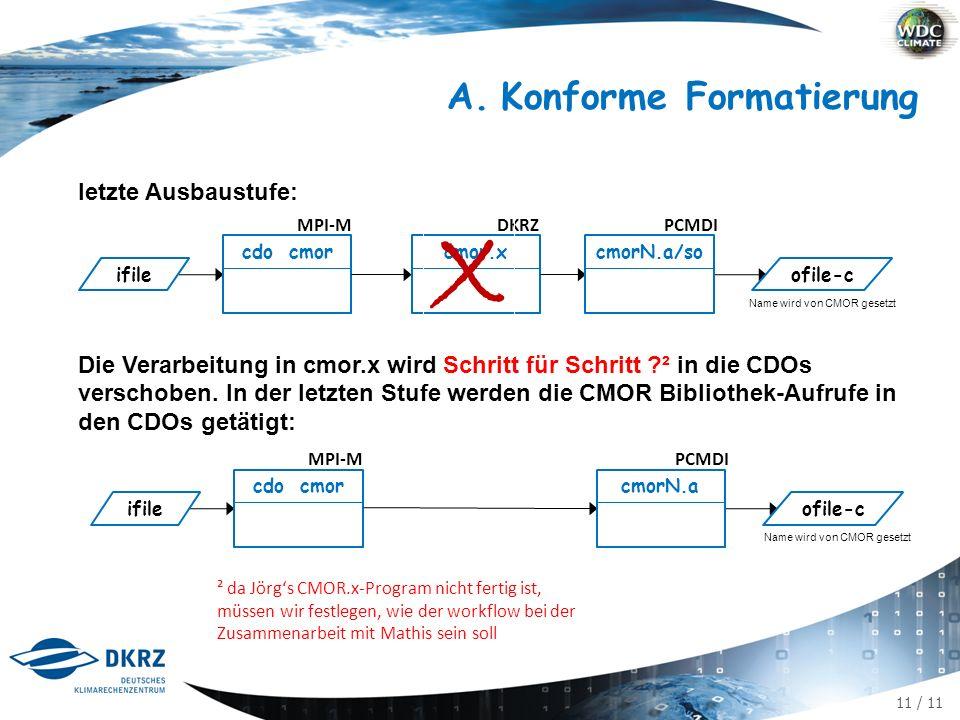 11 / 11 A.Konforme Formatierung letzte Ausbaustufe: Die Verarbeitung in cmor.x wird Schritt für Schritt ² in die CDOs verschoben.