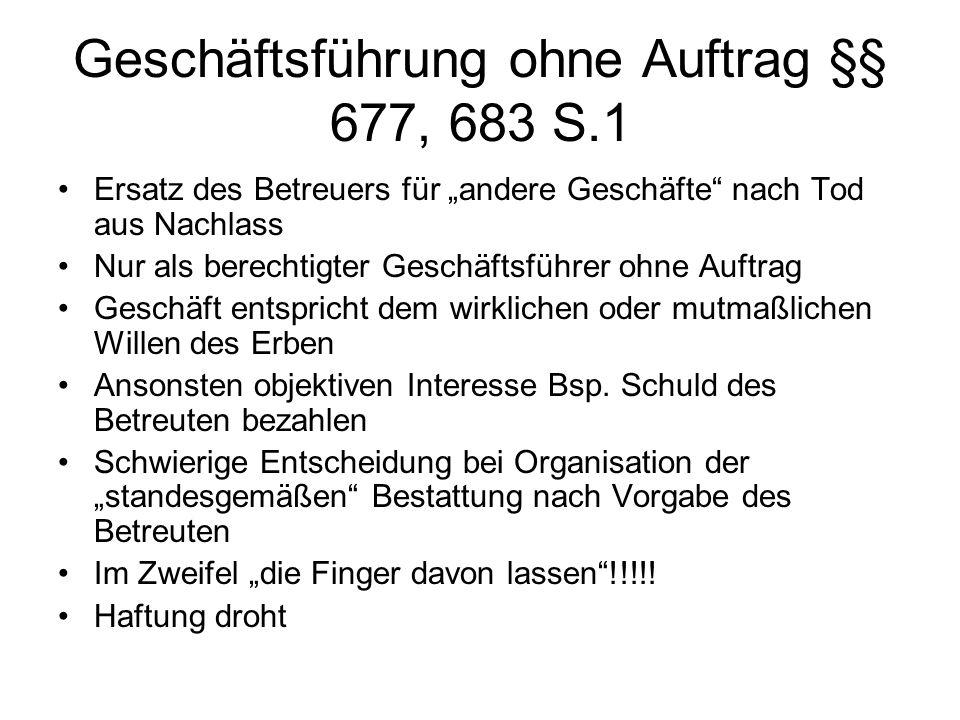 Schlusstätigkeiten Information des Betreuungsgerichts –Sterbeurkunde einreichen.