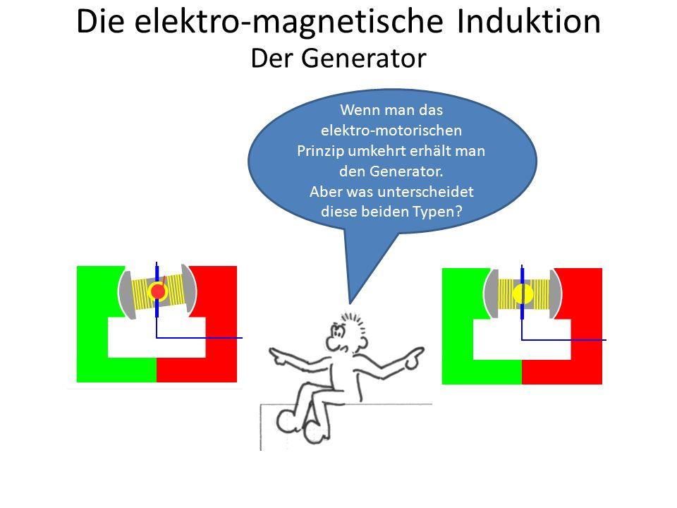 Die elektro-magnetische Induktion Wenn man das elektro-motorischen Prinzip umkehrt erhält man den Generator. Aber was unterscheidet diese beiden Typen