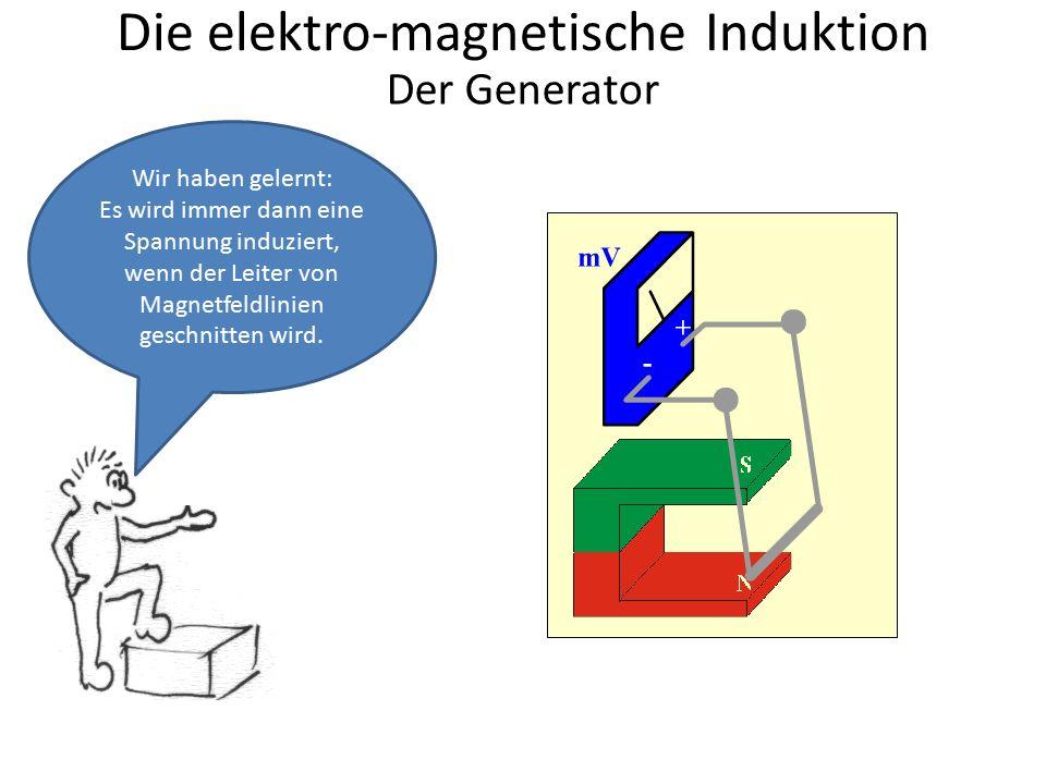 Die elektro-magnetische Induktion Wir haben gelernt: Es wird immer dann eine Spannung induziert, wenn der Leiter von Magnetfeldlinien geschnitten wird