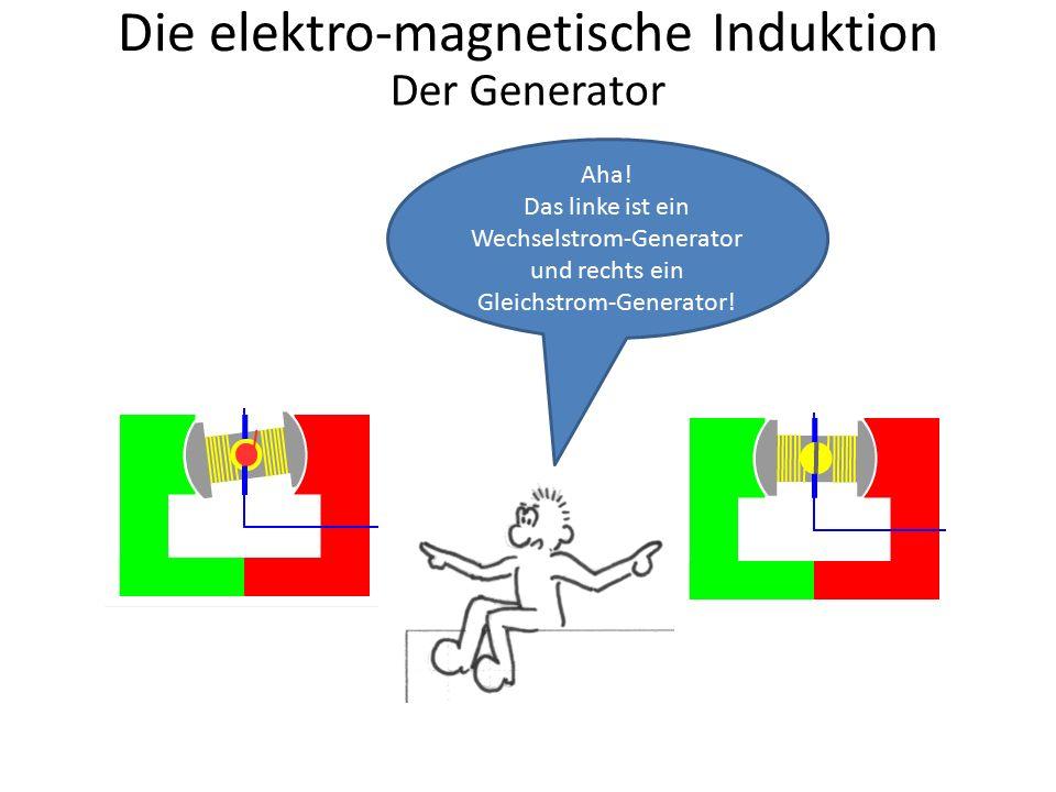 Die elektro-magnetische Induktion Aha! Das linke ist ein Wechselstrom-Generator und rechts ein Gleichstrom-Generator! Der Generator