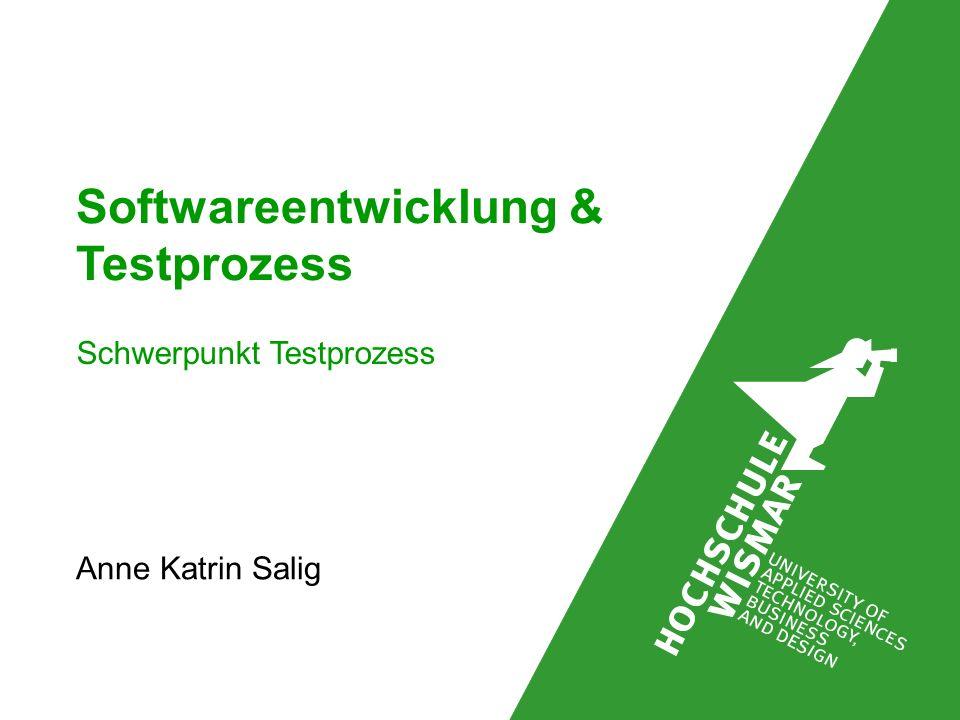 Softwareentwicklung & Testprozess Anne Katrin Salig Schwerpunkt Testprozess