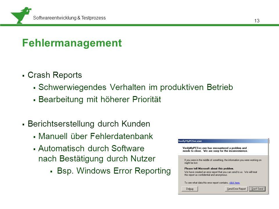 Präsentationstitel, Referent: Meta Normal-Roman 12 pt Softwareentwicklung & Testprozess  Crash Reports  Schwerwiegendes Verhalten im produktiven Bet