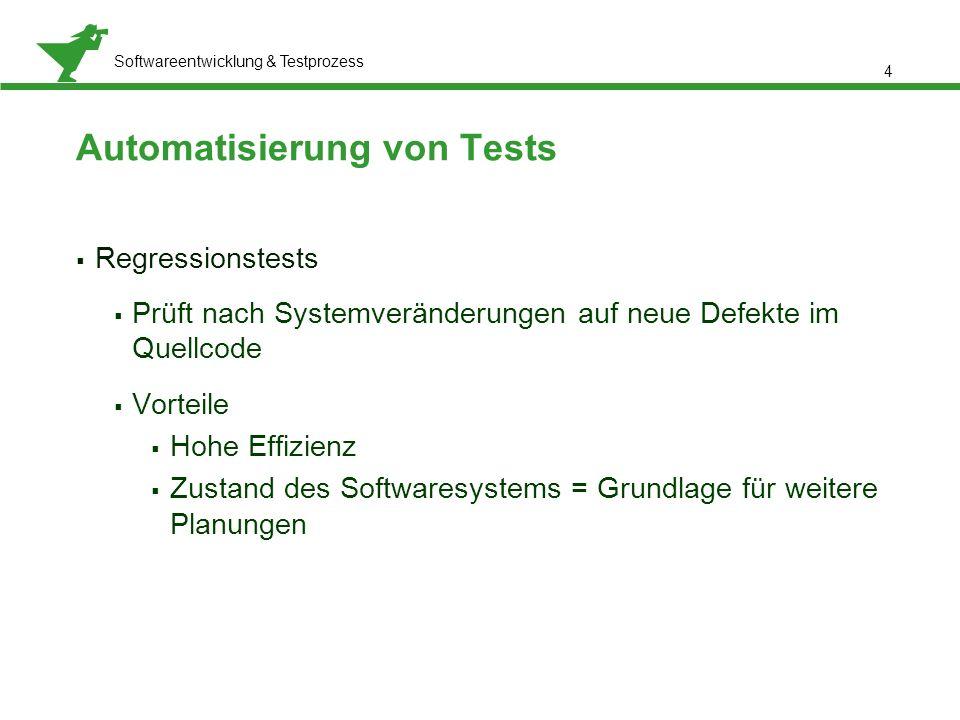 Präsentationstitel, Referent: Meta Normal-Roman 12 pt Softwareentwicklung & Testprozess  Regressionstests  Prüft nach Systemveränderungen auf neue D