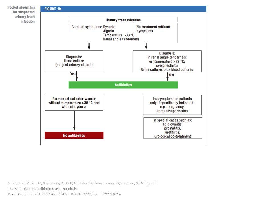 Scholze, K; Wenke, M; Schierholz, R; Groß, U; Bader, O; Zimmermann, O; Lemmen, S; Ortlepp, J R The Reduction in Antibiotic Use in Hospitals Dtsch Arztebl Int 2015; 112(42): 714-21; DOI: 10.3238/arztebl.2015.0714