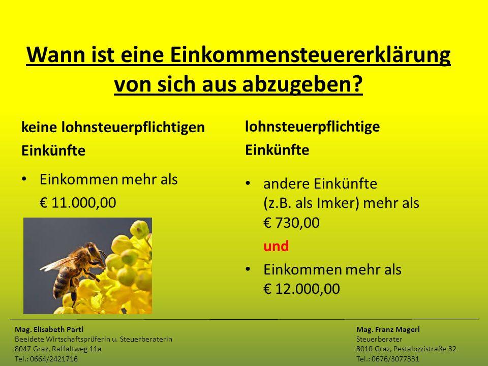 Wann ist eine Einkommensteuererklärung von sich aus abzugeben? keine lohnsteuerpflichtigen Einkünfte Einkommen mehr als € 11.000,00 lohnsteuerpflichti