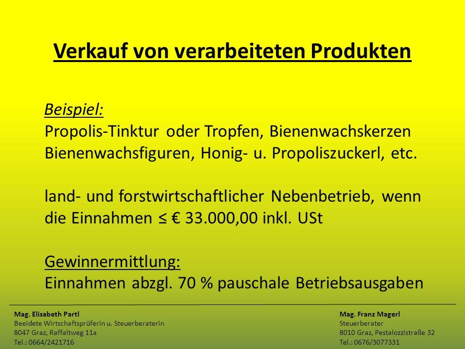 Verkauf von verarbeiteten Produkten Beispiel: Propolis-Tinktur oder Tropfen, Bienenwachskerzen Bienenwachsfiguren, Honig- u. Propoliszuckerl, etc. lan