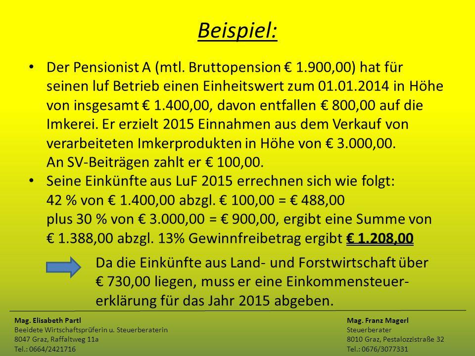 Beispiel: Der Pensionist A (mtl. Bruttopension € 1.900,00) hat für seinen luf Betrieb einen Einheitswert zum 01.01.2014 in Höhe von insgesamt € 1.400,