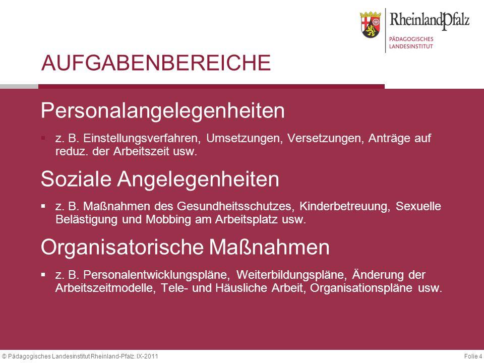 Folie 4© Pädagogisches Landesinstitut Rheinland-Pfalz. IX-2011 AUFGABENBEREICHE Personalangelegenheiten  z. B. Einstellungsverfahren, Umsetzungen, Ve