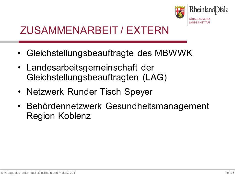 Folie 6© Pädagogisches Landesinstitut Rheinland-Pfalz. IX-2011 ZUSAMMENARBEIT / EXTERN Gleichstellungsbeauftragte des MBWWK Landesarbeitsgemeinschaft