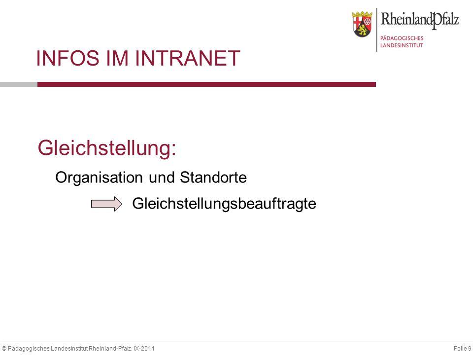 Folie 9© Pädagogisches Landesinstitut Rheinland-Pfalz. IX-2011 INFOS IM INTRANET Gleichstellung: Organisation und Standorte Gleichstellungsbeauftragte