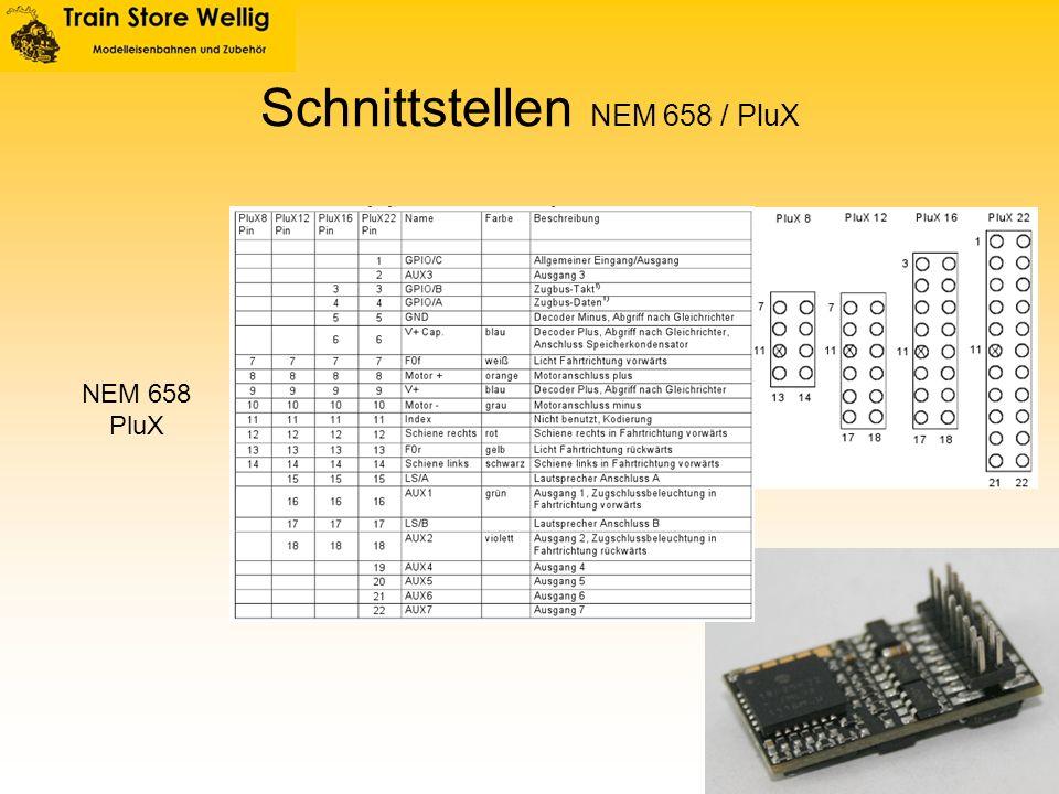 Schnittstellen NEM 658 / PluX NEM 658 PluX