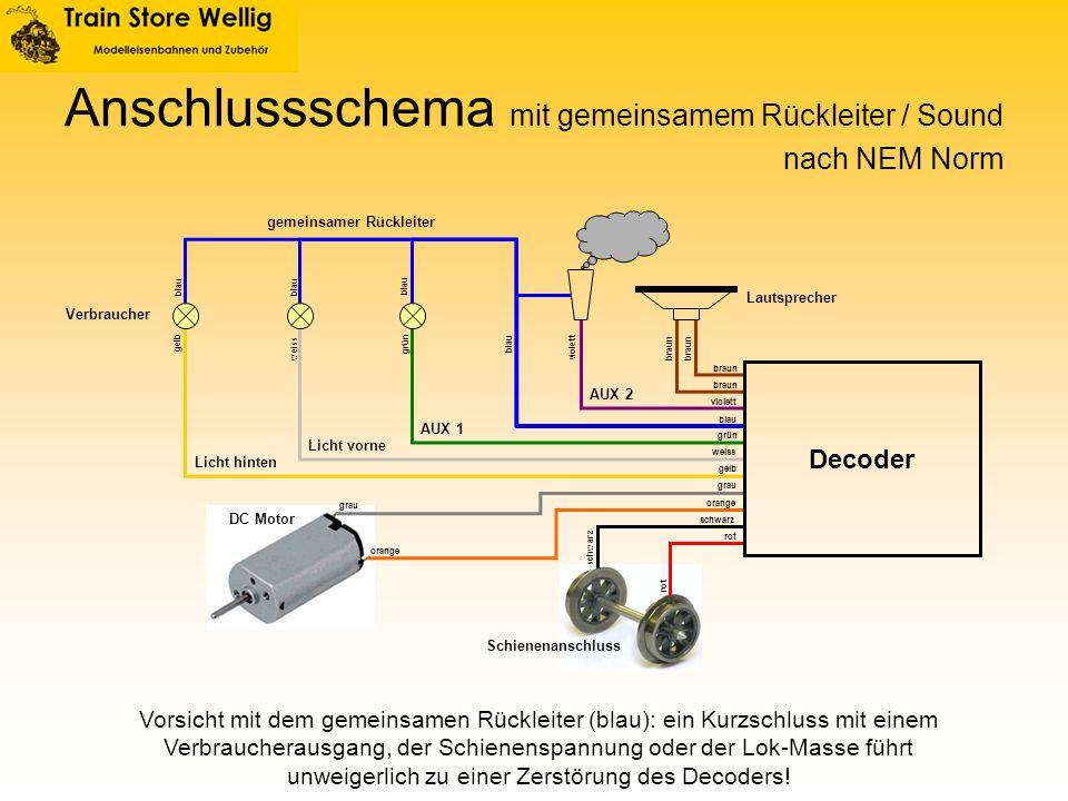 Anschlussschema mit gemeinsamem Rückleiter / Sound Licht vorne Licht hinten AUX 2 AUX 1 DC Motor Schienenanschluss gemeinsamer Rückleiter Lautsprecher