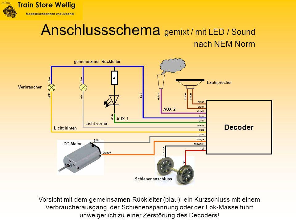 R Anschlussschema gemixt / mit LED / Sound Licht vorne Licht hinten AUX 2 AUX 1 DC Motor Schienenanschluss gemeinsamer Rückleiter Lautsprecher Verbrau