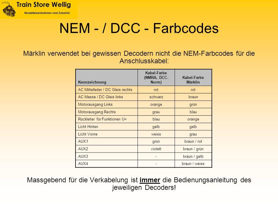 NEM - / DCC - Farbcodes Märklin verwendet bei gewissen Decodern nicht die NEM-Farbcodes für die Anschlusskabel: Massgebend für die Verkabelung ist imm