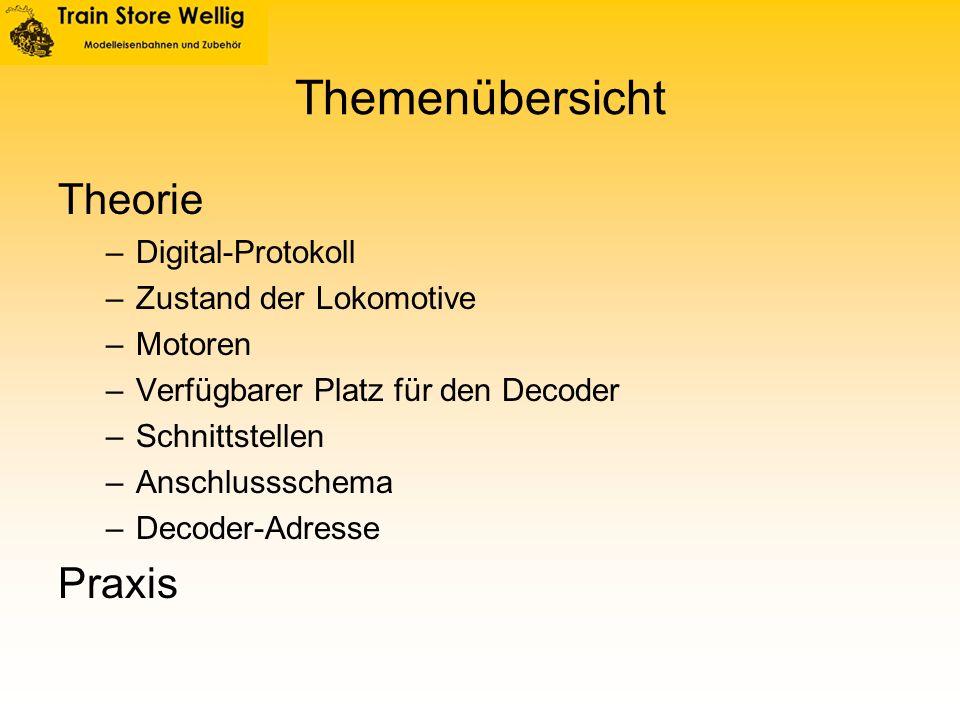 Themenübersicht Theorie –Digital-Protokoll –Zustand der Lokomotive –Motoren –Verfügbarer Platz für den Decoder –Schnittstellen –Anschlussschema –Decod