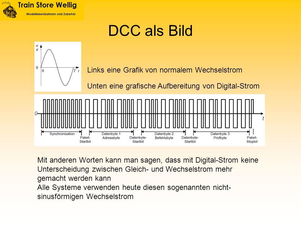 DCC als Bild 0 t Links eine Grafik von normalem Wechselstrom Unten eine grafische Aufbereitung von Digital-Strom Mit anderen Worten kann man sagen, da