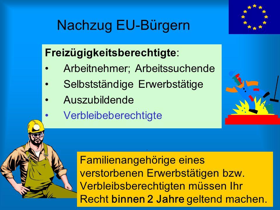 Nachzug EU-Bürgern Freizügigkeitsberechtigte: Arbeitnehmer; Arbeitssuchende Selbstständige Erwerbstätige Auszubildende Verbleibeberechtigte Familienan