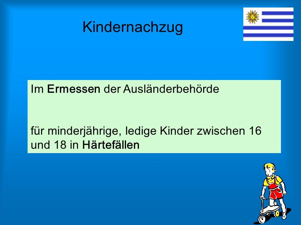 Kindernachzug Im Ermessen der Ausländerbehörde für minderjährige, ledige Kinder zwischen 16 und 18 in Härtefällen