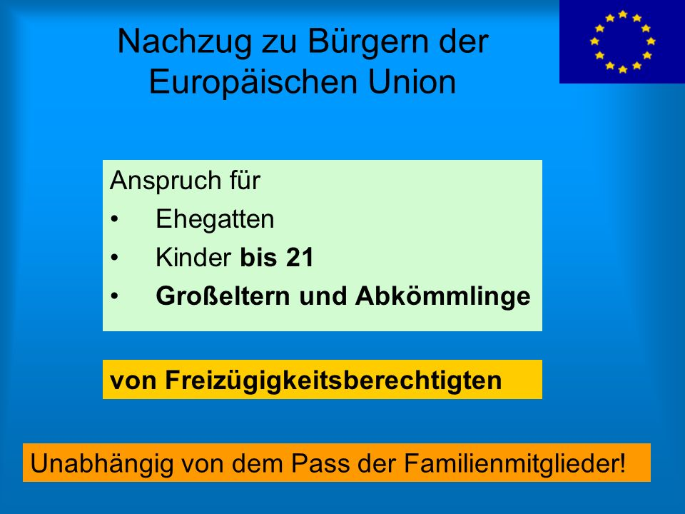 Nachzug zu Bürgern der Europäischen Union Anspruch für Ehegatten Kinder bis 21 Großeltern und Abkömmlinge von Freizügigkeitsberechtigten Unabhängig vo