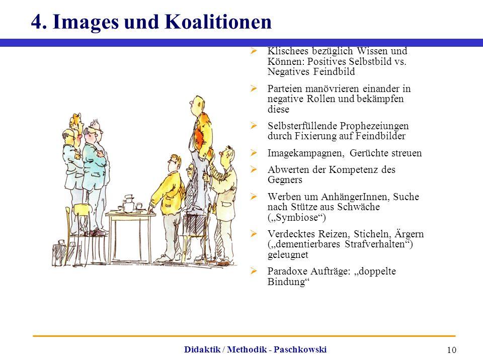 Didaktik / Methodik - Paschkowski 10 4. Images und Koalitionen  Klischees bezüglich Wissen und Können: Positives Selbstbild vs. Negatives Feindbild 