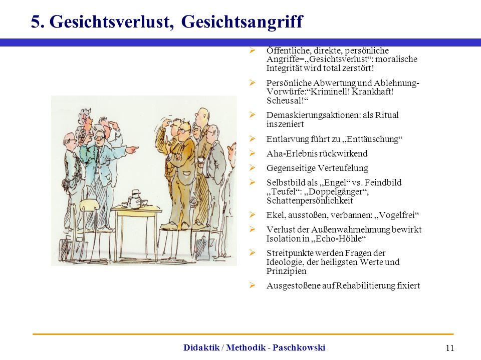 """Didaktik / Methodik - Paschkowski 11 5. Gesichtsverlust, Gesichtsangriff  Öffentliche, direkte, persönliche Angriffe=""""Gesichtsverlust"""": moralische In"""