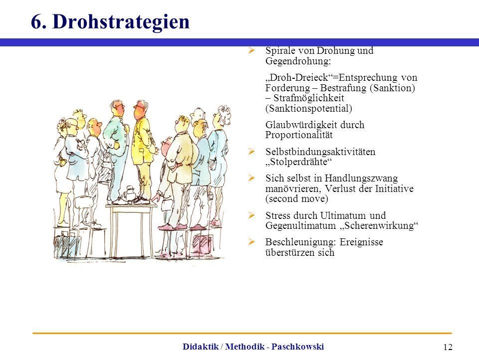 """Didaktik / Methodik - Paschkowski 12 6. Drohstrategien  Spirale von Drohung und Gegendrohung: """"Droh-Dreieck""""=Entsprechung von Forderung – Bestrafung"""