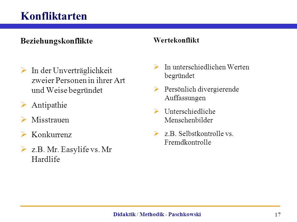 Didaktik / Methodik - Paschkowski 17 Konfliktarten Beziehungskonflikte  In der Unverträglichkeit zweier Personen in ihrer Art und Weise begründet  A