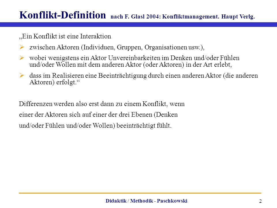 """Didaktik / Methodik - Paschkowski 2 Konflikt-Definition nach F. Glasl 2004: Konfliktmanagement. Haupt Verlg. """"Ein Konflikt ist eine Interaktion  zwis"""