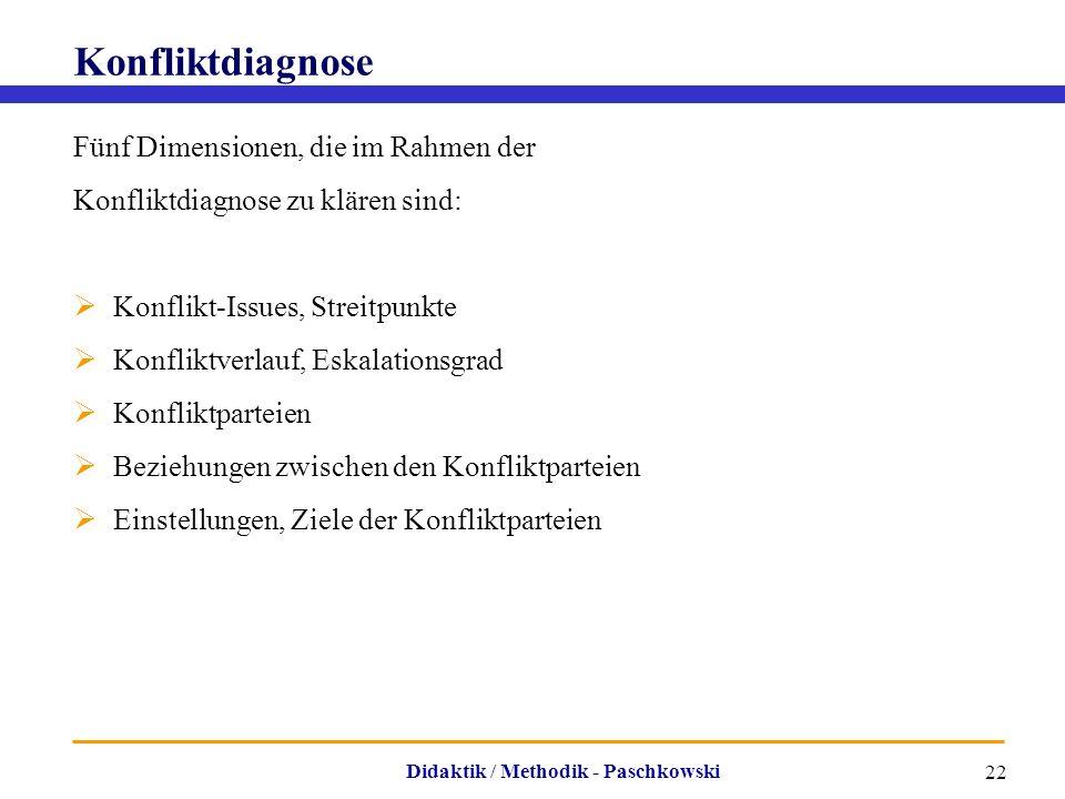 Didaktik / Methodik - Paschkowski 22 Konfliktdiagnose Fünf Dimensionen, die im Rahmen der Konfliktdiagnose zu klären sind:  Konflikt-Issues, Streitpu
