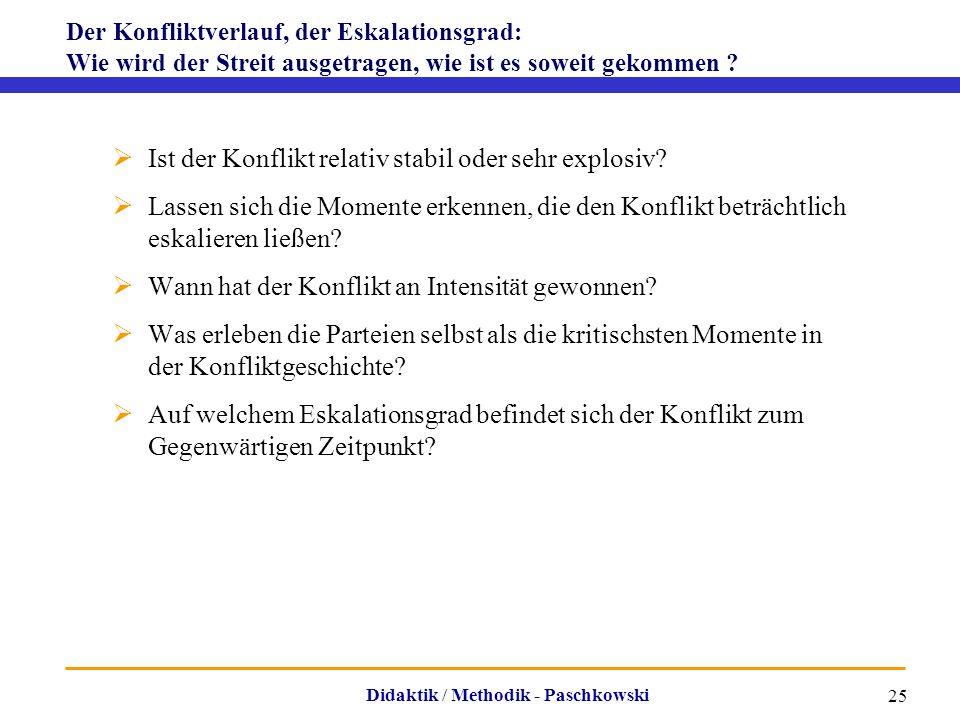 Didaktik / Methodik - Paschkowski 25 Der Konfliktverlauf, der Eskalationsgrad: Wie wird der Streit ausgetragen, wie ist es soweit gekommen ?  Ist der