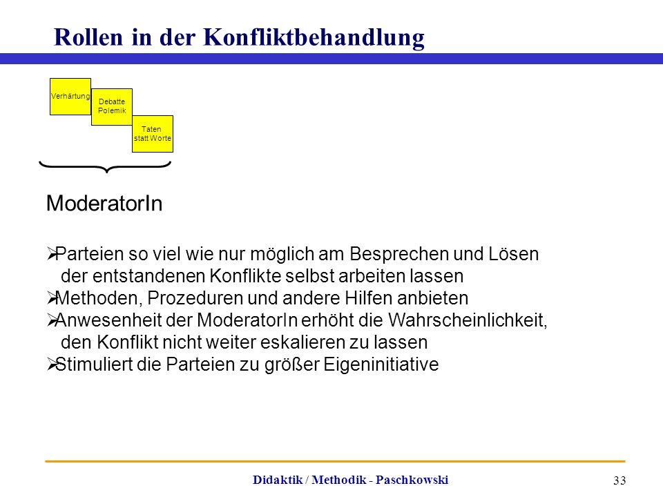 Didaktik / Methodik - Paschkowski 33 Rollen in der Konfliktbehandlung Verhärtung Debatte Polemik Taten statt Worte ModeratorIn  Parteien so viel wie