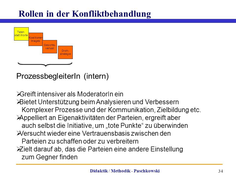 Didaktik / Methodik - Paschkowski 34 Rollen in der Konfliktbehandlung Taten statt Worte Koalitionen Images Gesichts- verlust Droh- strategie Prozessbe